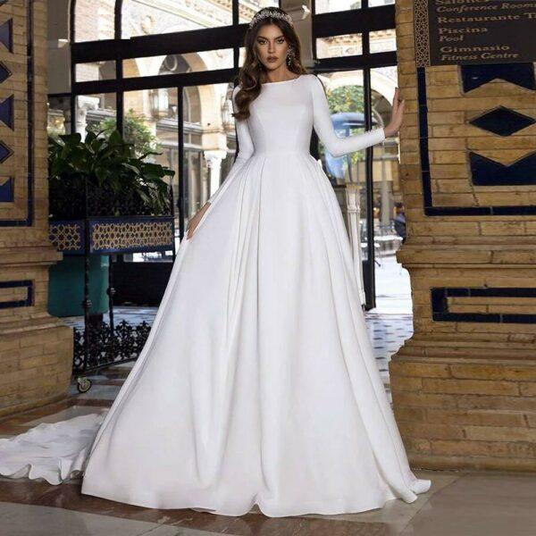 Robe De Mariée Princesse Manches Fendues Blanche | Soirée blanche