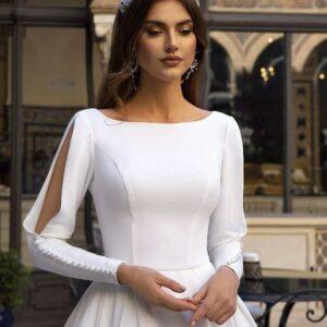 Robe De Mariée Princesse Manches Fendues Blanche   Soirée blanche