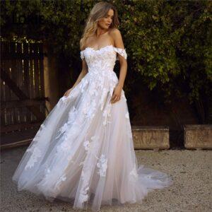 Robe De Mariée Princesse Fleurie Manche Tombante Blanche | Soirée Blanche