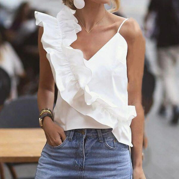 Top Asymétrique Blanc | Soirée Blanche