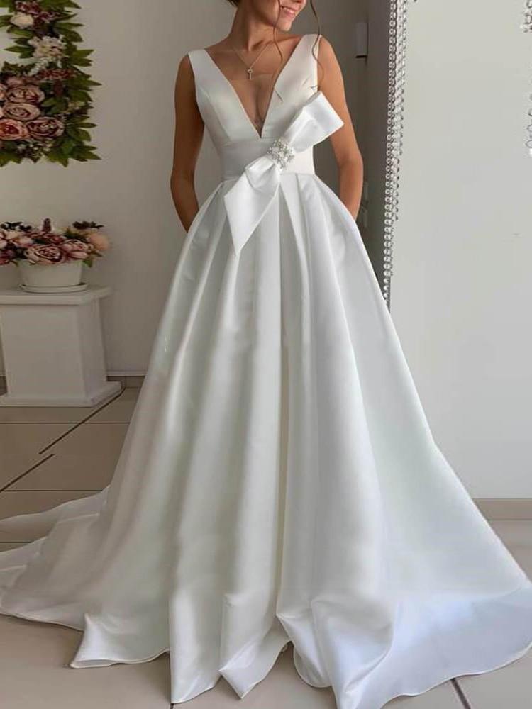 Robe de Mariage Blanche Longue | Soirée blanche