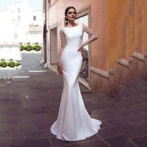 Robe De Mariée Sirène Dos Floral Blanche | Soirée Blanche