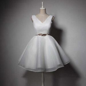 Robe Blanche Courte de Cérémonie de Mariage | Soirée Blanche