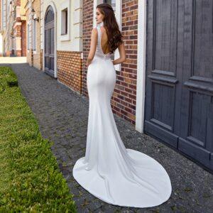 Robe De Mariée Sirène Décolleté V Blanche   Soirée Blanche