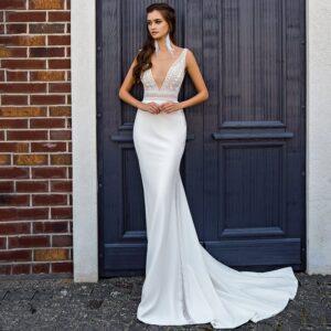 Robe De Mariée Sirène Décolleté V Blanche | Soirée Blanche