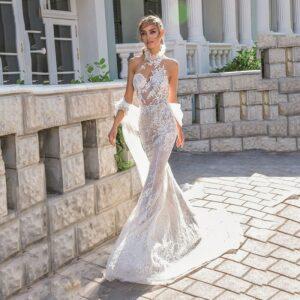 Robe De Mariée Sirène Col Haut Sexy Blanche | Soirée Blanche