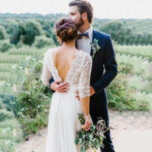 Robe De Mariée Simple Col V Blanche | Soirée Blanche