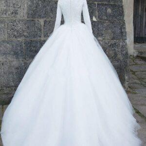 Robe De Mariée Hiver Manches Longues Blanche   Soirée blanche