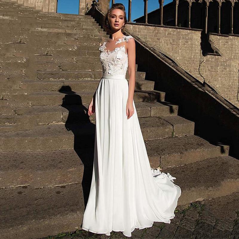 Robe De Mariée Simple Illusion Blanche | Soirée Blanche