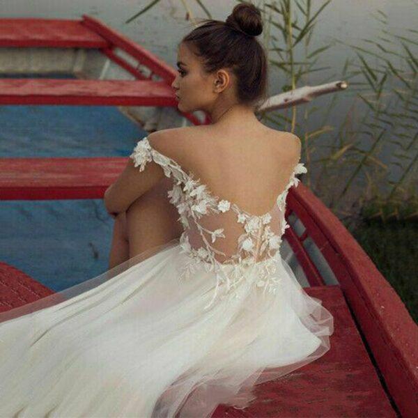 Robe de Mariée Blanche Bohème Fendue | Soirée Blanche