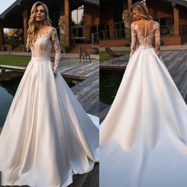 Le top 3 des robes de mariée intemporelle : Robe De Mariée Princesse Luxe A Manches Longues