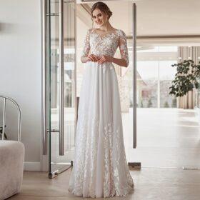Robe De Mariée Manche 3 4   Soirée Blanche