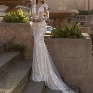 Robe De Mariée Sirène Manches Longues Dos Nu Blanche | Soirée Blanche