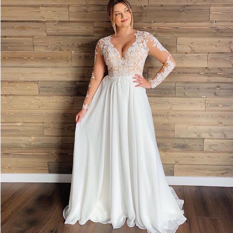 Robe De Mariée Automne Manches Longues Blanche | Soirée Blanche