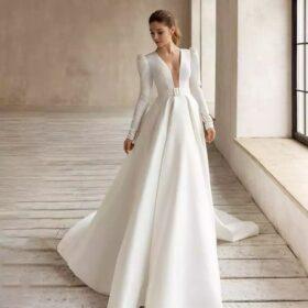 Robe De Mariée Chic A Manches Longues Blanche   Soirée blanche