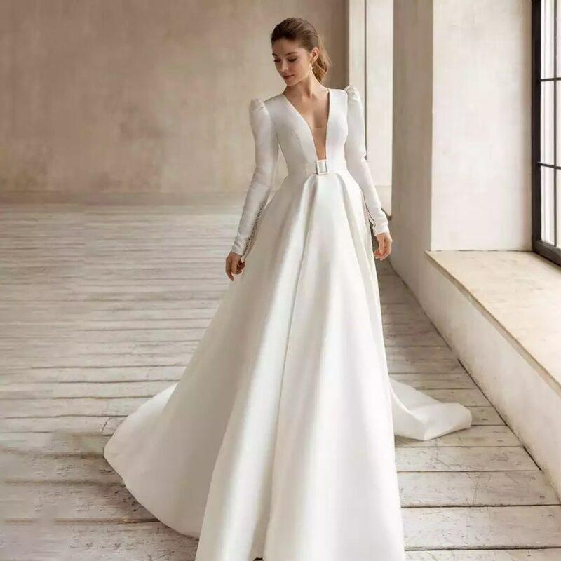 Robe De Mariée Chic A Manches Longues Blanche | Soirée blanche