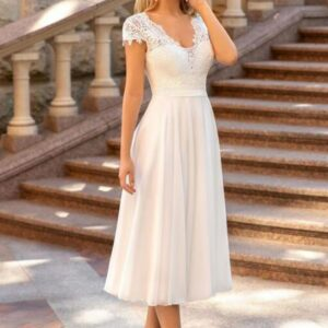 Robe De Mariée Courte Pour Mariage Civil Blanche  Soirée Blanche