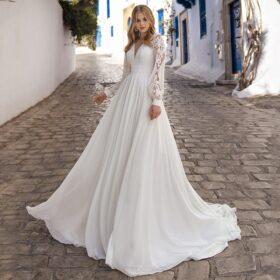 Robe De Mariée Princesse Manche Longue Dentelle   Soirée blanche