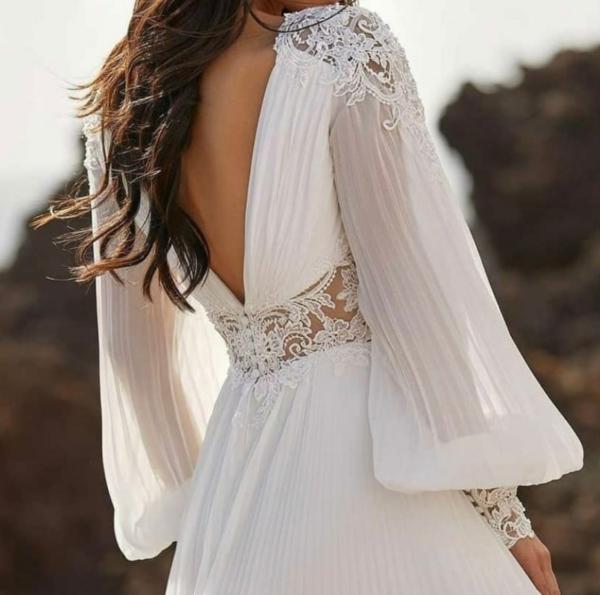 Robe De Mariée Simple Manches Longues Fluides   Soirée Blanche