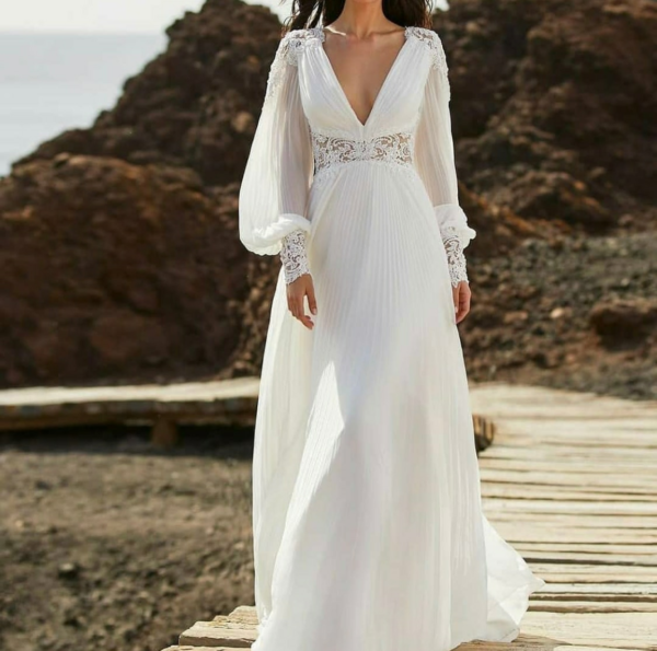Robe De Mariée Simple Manches Longues Fluides Blanche   Soirée Blanche
