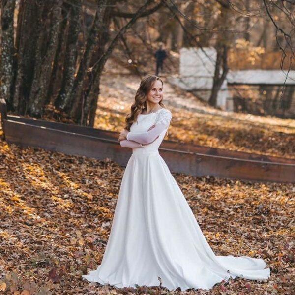Robe De Mariée Avec Fleurs Brodées Blanche | Soirée Blanche