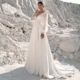 Robe De Mariée Dos Nu A Manches Longues Blanche   Soirée Blanche
