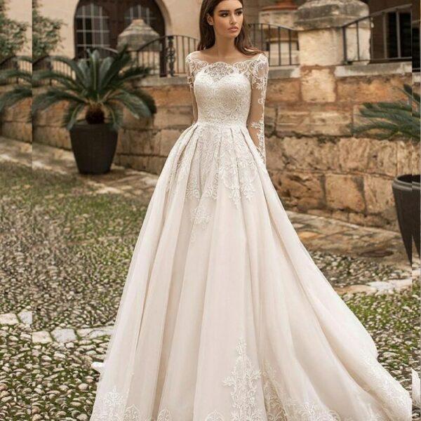 Robe De Mariée Princesse Dentelle Manche Longue Blanche | Soirée Blanche