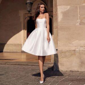 Robe De Mariée Courte Satin Blanche | Soirée Blanche