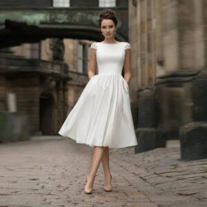 Robe De Mariée Courte Chic Et Sobre Blanche | Soirée Blanche