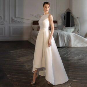 Robe De Mariée Courte Asymétrique | Soirée Blanche