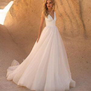 Robe De Mariée Princesse Bohème Chic Blanche | Soirée blanche