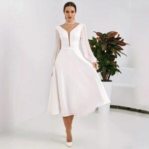 Robe De Mariée Courte Manches Longues Blanche | Soirée Blanche